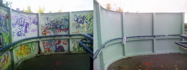 before and after graffiti removal