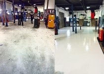 commercial garage floor before and after painting