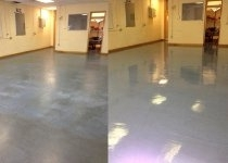 school floor before and after painting